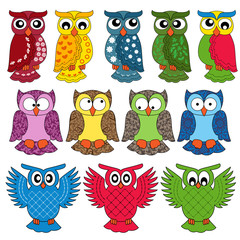 Set of eleven owls