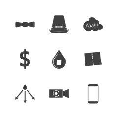 Black silhouette icons for Ice Bucket Challenge