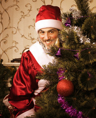 portrait of funny Santa Claus