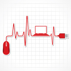 heartbeat with mouse and laptop stock vector