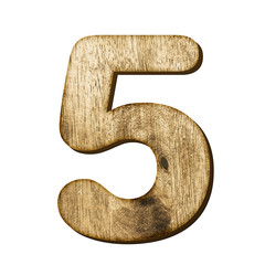 5 Number made from wood