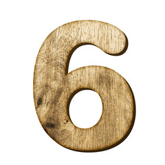 6 Number made from wood