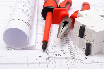Diagrams, electric fuse, work tools on construction drawing