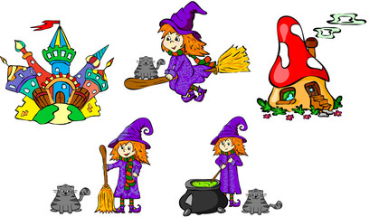 Set of witches and castles