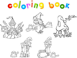 Set of witches and castles coloring book