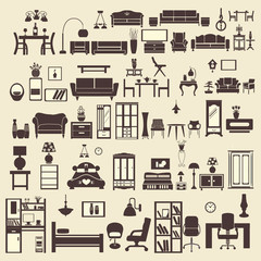 creative design furniture icons set interior- illustration