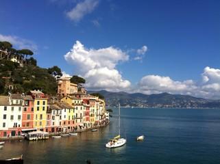 La tavolozza di colori del villaggio di Portofino