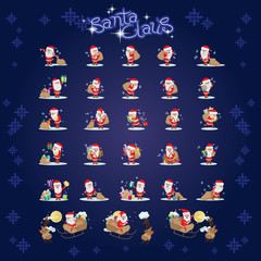 Santa Claus Set - Isolated On Blue Background