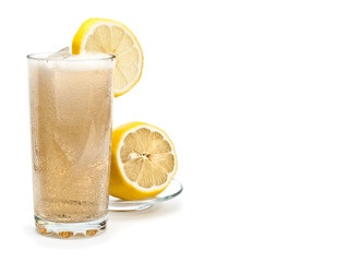 Glass of cold lemonade