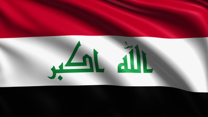 flag of Iraq with fabric structure; looping