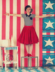 Portrait of funny young woman in a retro style.