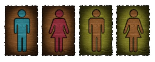 wooden toilets WC sign for men and women, set