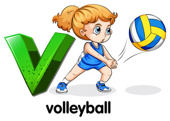 A letter V for volleyball