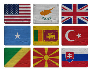 set flags painted on wooden tag