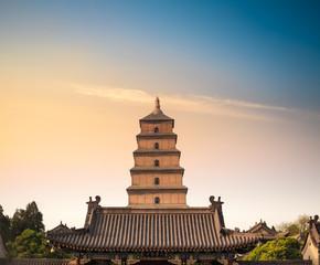 xian big wild goose pagoda closeup