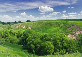 Gully near Old Ryazan village. Central Russia, Ryazan region