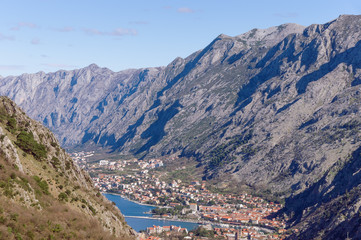 Valley between high mountains. Kotor city, Montenegro