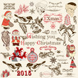 Christmas set of vector decorative elements in vintage style