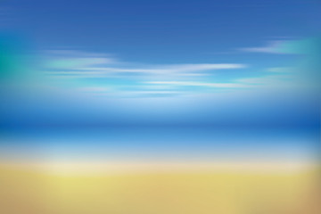 Summer background with white sand, sea and sky