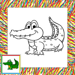 Funny cartoon crocodile coloring book
