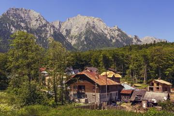 Summer mountain landscape with Bucegi mountains, Romania