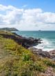 View from Polzeath Beach, near Wadebridge Cornwall England - 70425894
