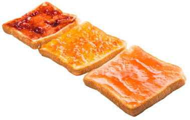 Mix fruit, blueberry, orange fruit jam spread on bread toast