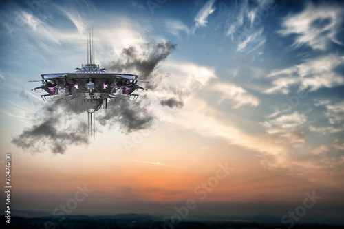 Foto op Canvas ufo spaceship