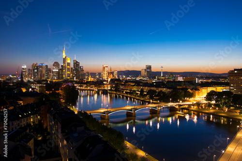 canvas print picture Frankfurt blue hour