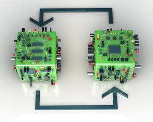 Fantasy electronics scheme. Conceptual technology illustration