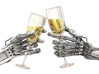 High Technology holiday. Two robots with wineglasses