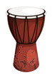 Tomtom drum brown style tribal with palm trees and birds. Isolat - 70426691