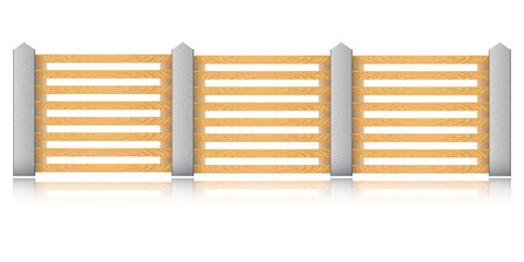 Wooden fence with concrete columns on a white background. Vector