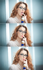 Beautiful young lady with glasses having fun enjoying ice cream