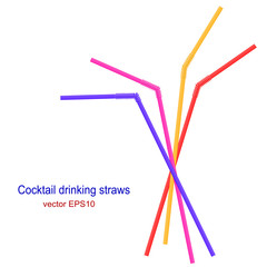 Set of bright cocktail straws isolated on white background. Vect