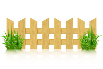 Wooden fence isolated on a white background and green grass. Vec