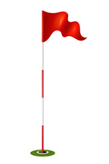 Red flag in the hole. Golf. Vector illustration.