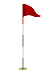 Red flag in the hole. Golf. Isolated on white background. Vector