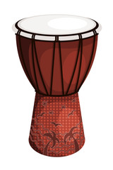 Tomtom drum brown style tribal with palm trees and birds. Isolat