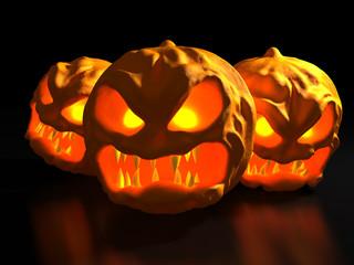 Halloween monster pumpkins. Fantasy 3d illustration.