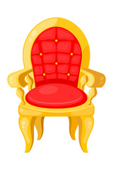 Bright red chair with highlights and shadows isolated on white b