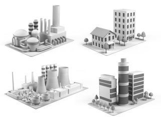Set of different buildings,