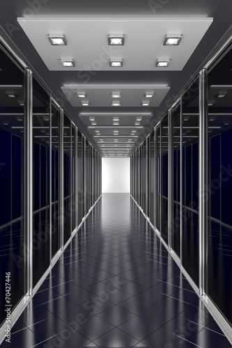 Modern black  hallway. Architecture 3d illustration