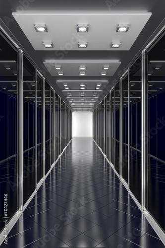 Modern black  hallway. Architecture 3d illustration