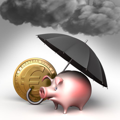 Umbrella protects piggy bank,  from bad weather.