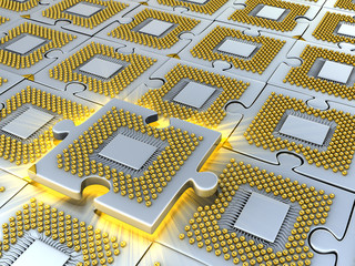 Puzzle made of fantasy CPU. Technology  illustration