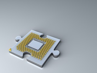 Puzzle made of fantasy CPU. Technology 3d illustration