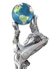 Robot keep the Earth. Planet in hands at high technology.