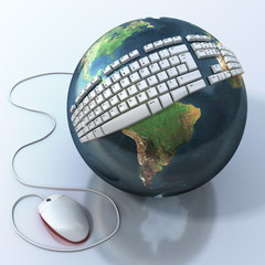 Digital world. Keyboard on Earth.