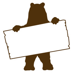 bs2 - BearSign - bear with blank signpost in brown - long g1720